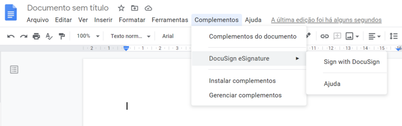 Assinar documentos com o google doc