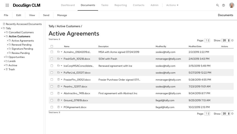 Captura de tela de um repositório de acordos ativos pesquisável no sistema