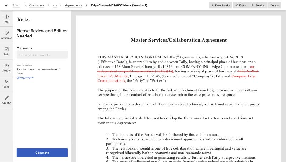 Captura de tela revendo um contrato no sistema