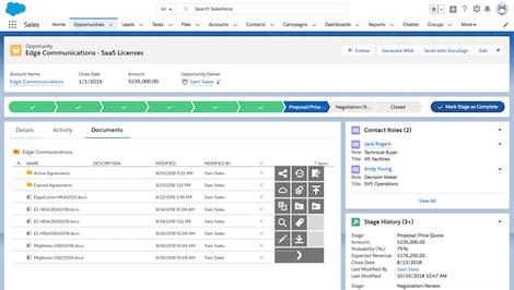 Captura de tela do sistema integrado com Salesforce