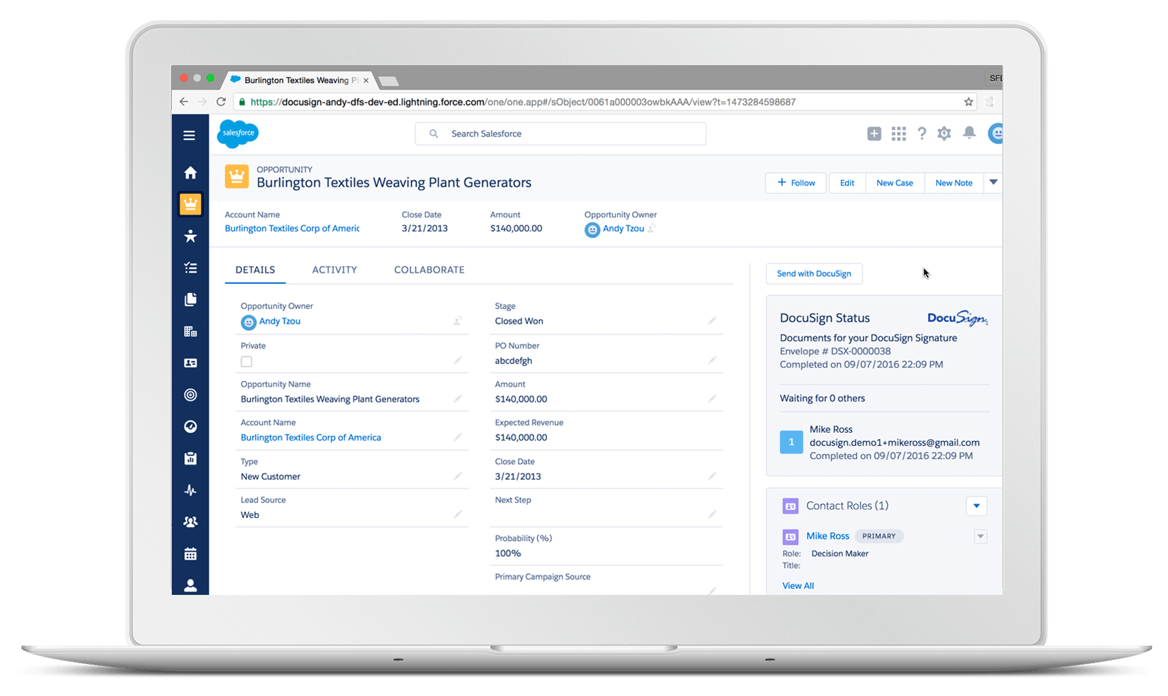 Introdução do DocuSign para o Salesforce Lightning