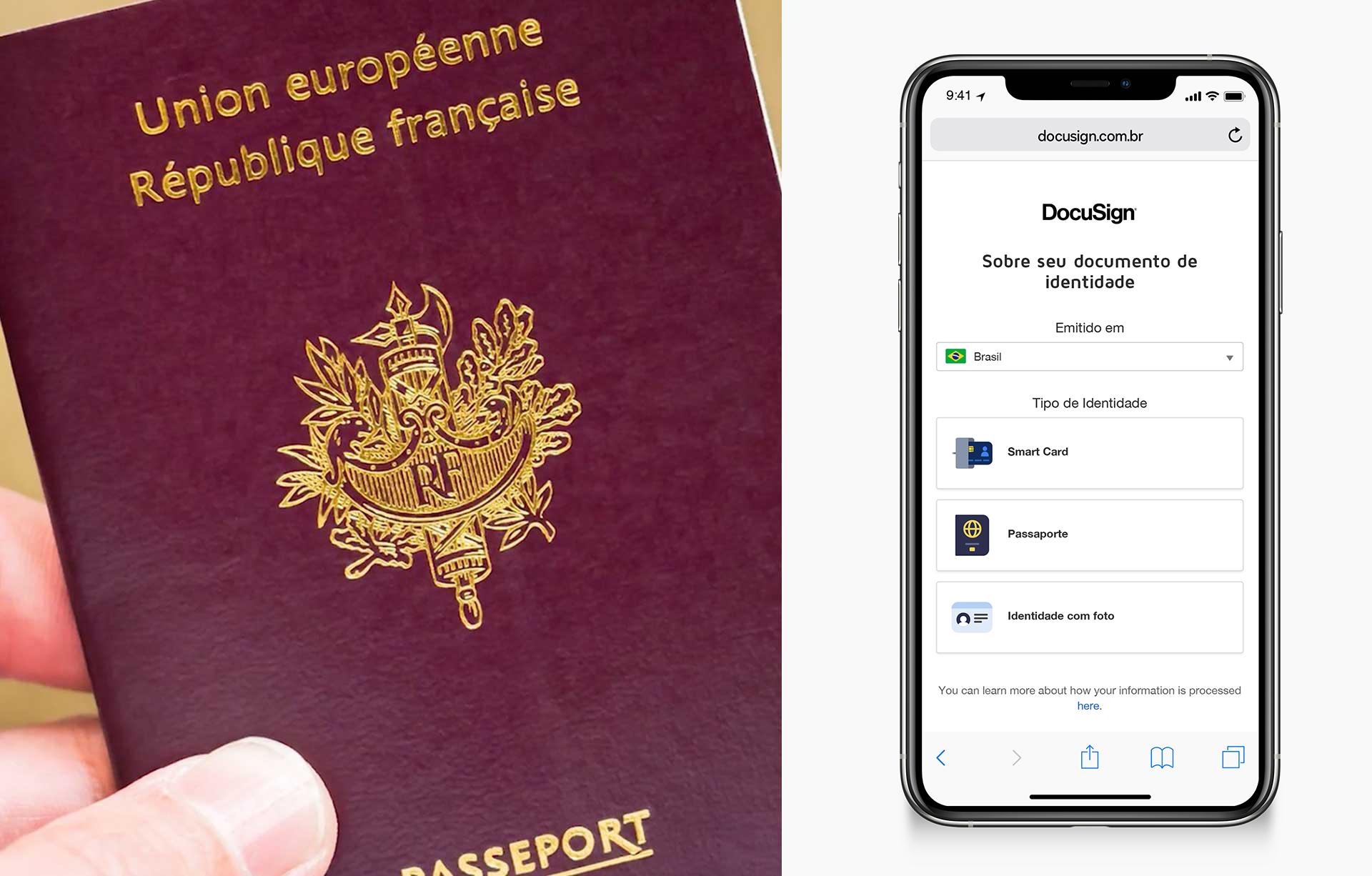 """Uma imagem dividida mostrando uma mão segurando um passaporte à esquerda e à direita um telefone solicitando """"Fale-nos sobre seu ID"""""""