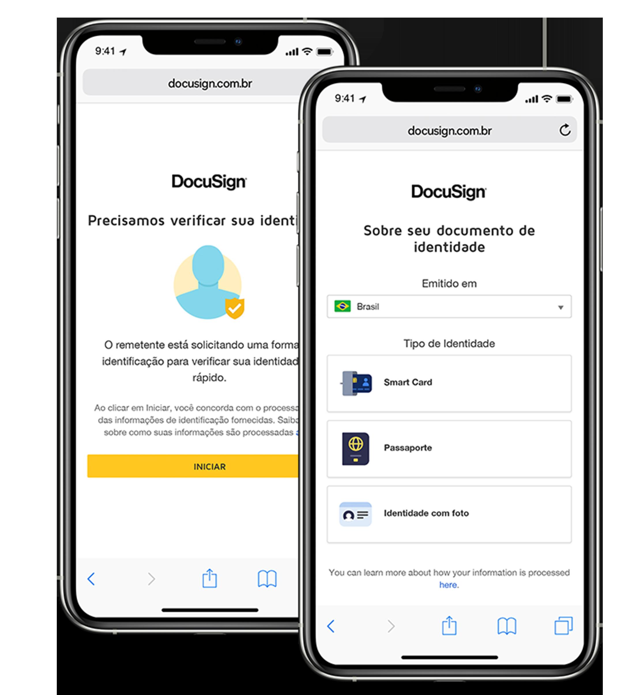 Dois telefones celulares, um mostrando instruções sobre como enviar seu ID e o outro pedindo informações sobre seu ID.