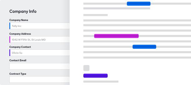 Captura de tela do preenchimento de um formulário no DocuSign CLM