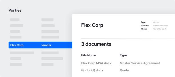 Screenshot do gerenciamento de partes do DocuSign CLM