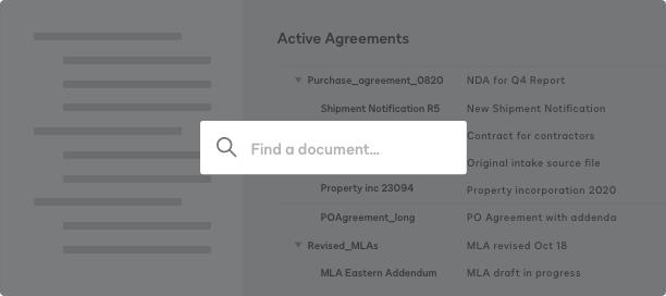 Captura de tela de um repositório pesquisável para acordos ativos no DocuSign CLM