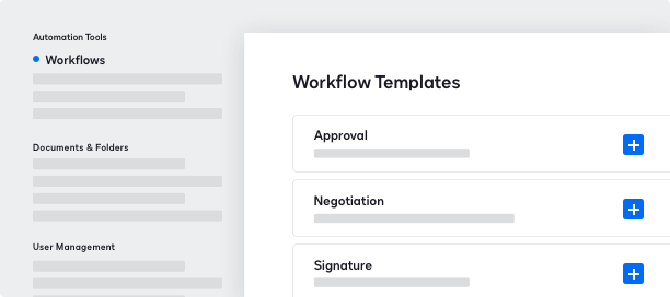 Screenshot do DocuSign CLM workflow templates