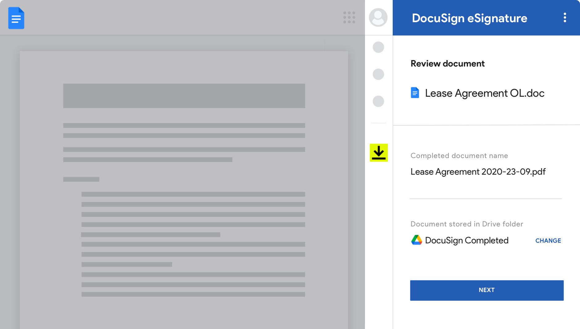 Google Docs com DocuSign eSignature mostrando os acordos e seus status.