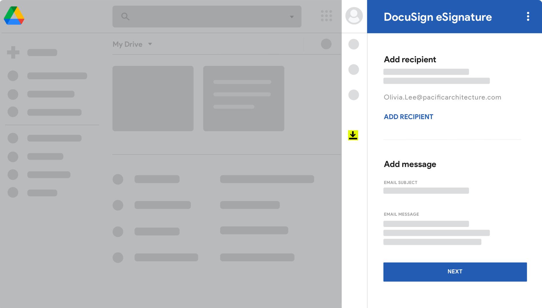 Tela do Google Drive com DocuSign eSignature.