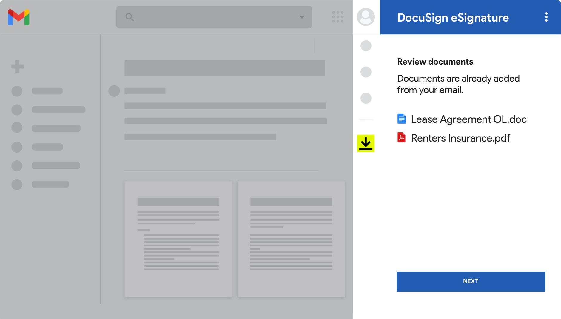 Captura de tela do Gmail mostrando documentos prontos para revisão no DocuSign eSignature.