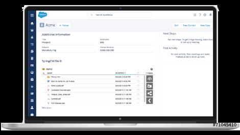 Um laptop mostrando dados do CLM na interface da Salesforce