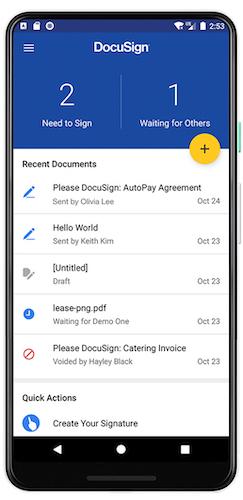Captura de tela do aplicativo móvel DocuSign para Android.
