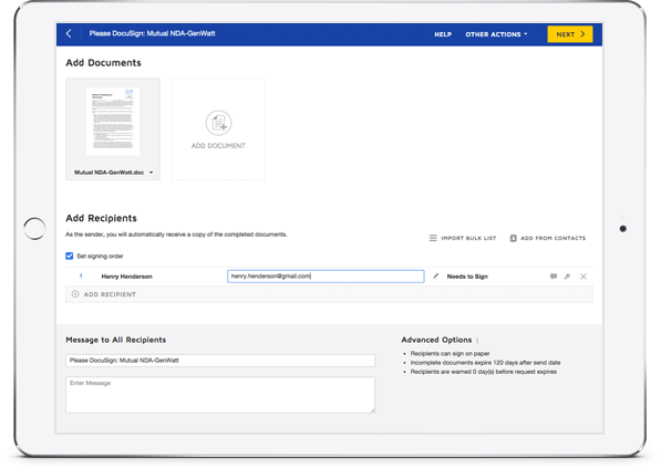 DocuSign document completion experience
