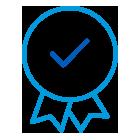 Ícone do emblema com uma marca de verificação no meio.