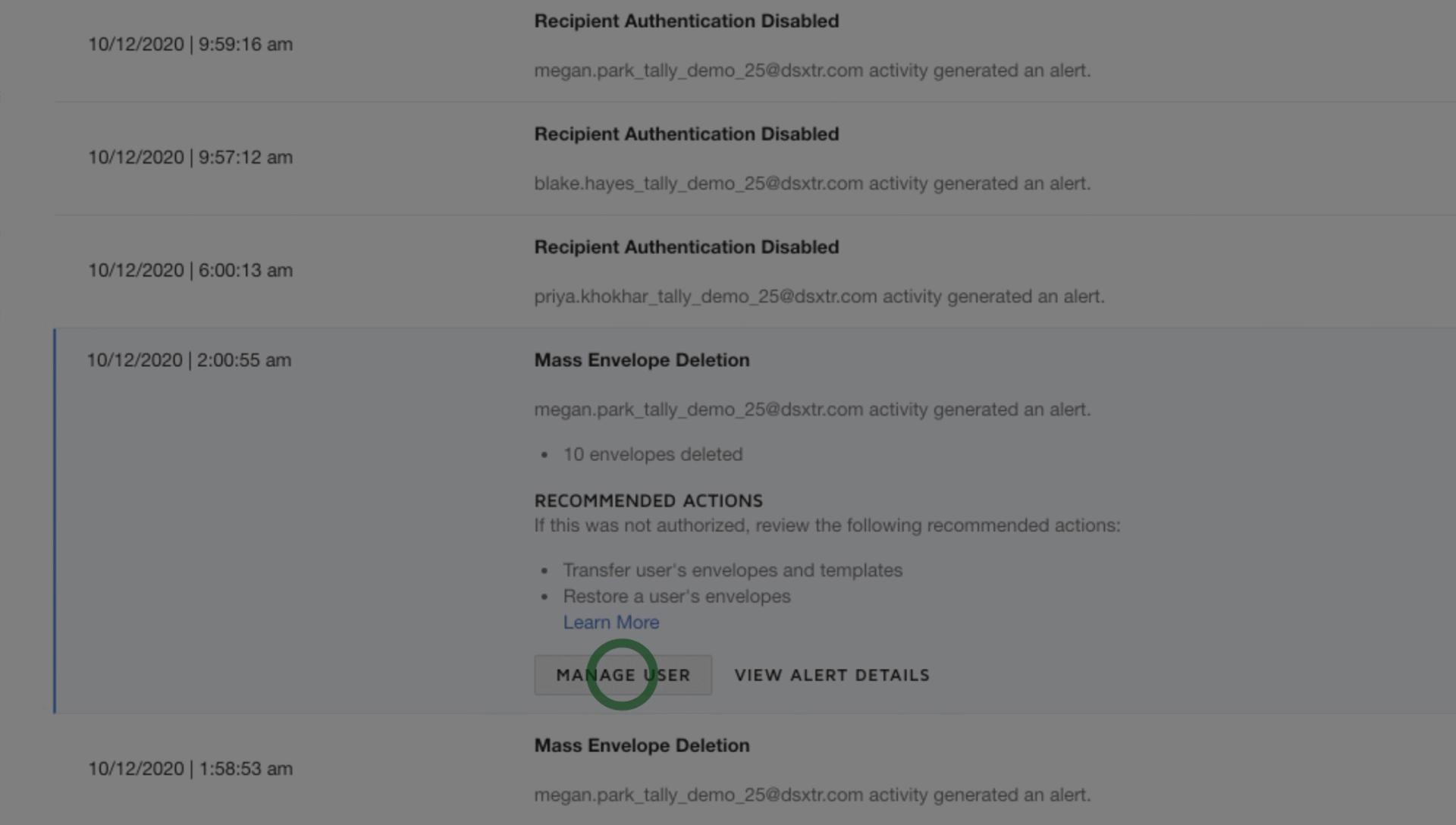 O DocuSign Monitor alerta sobre atividades suspeitas para que você possa agir rapidamente.