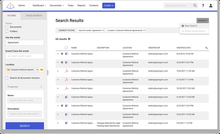 Captura de tela do produto de um repositório de contratos centralizado na DocuSign SpringCM.