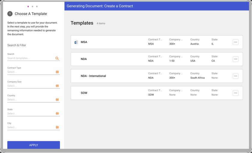 Captura de tela do produto de modelos de contrato e bibliotecas de cláusulas na DocuSign SpringCM.