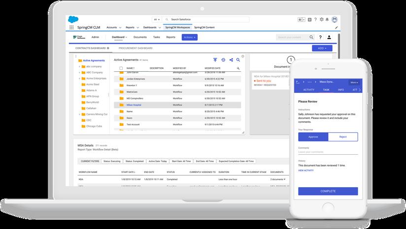 Capturas de tela do produto mostrando a automação do fluxo de trabalho de contratos em computadores e dispositivos móveis pela DocuSign SpringCM.