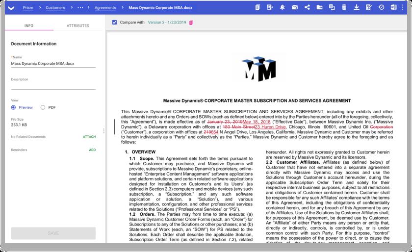 Captura de tela do produto dos fluxos de trabalho de correção e aprovação de contratos na DocuSign SpringCM.