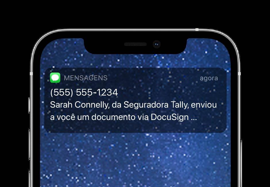 O DocuSign eSignature SMS Delivery permite que você envie notificações de texto em tempo real.