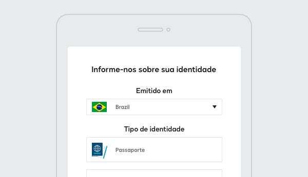 Captura de tela do DocuSign Identify solicitando detalhes sobre o tipo de ID.
