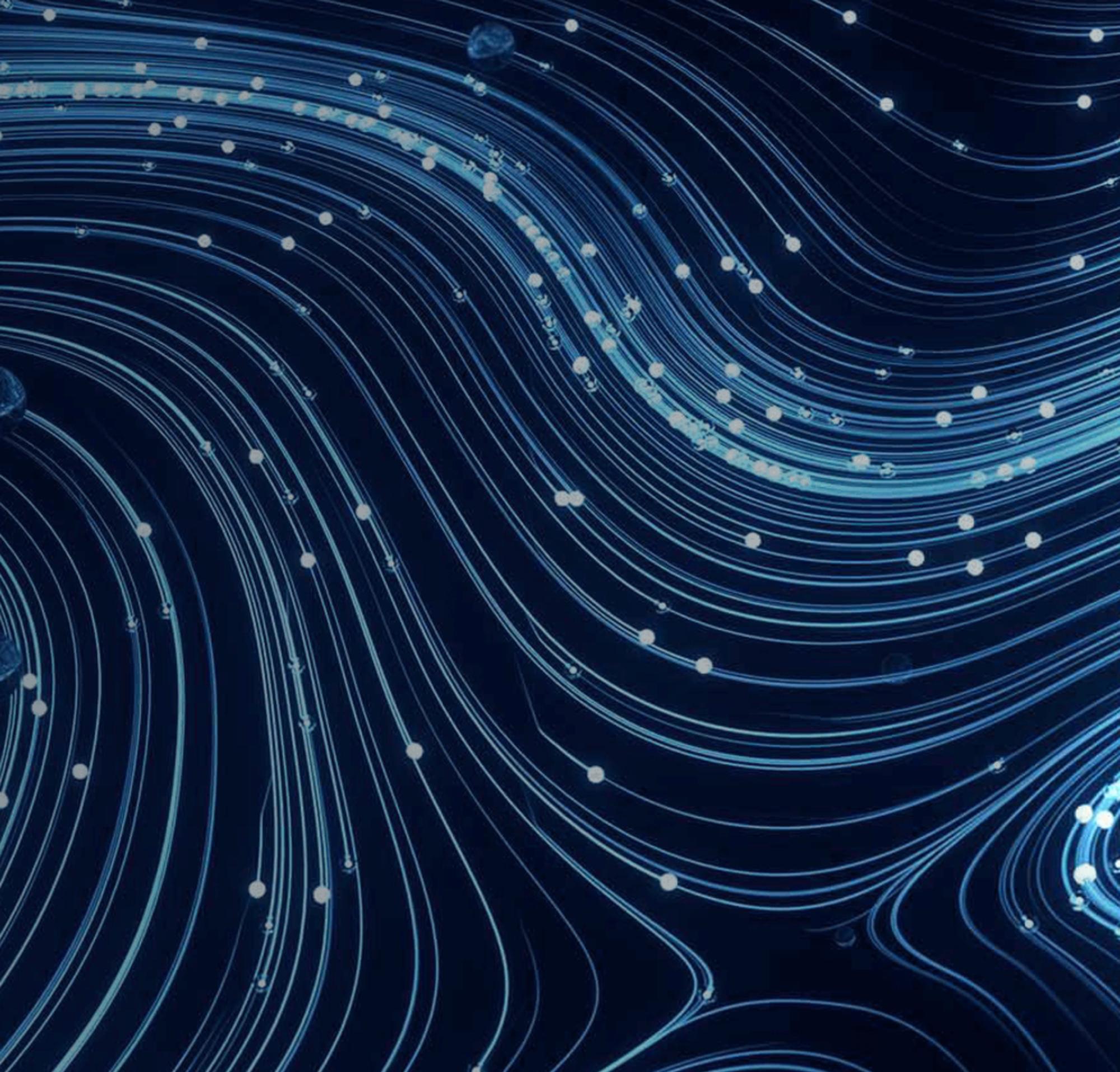Uma imagem abstrata de um fluxo de linhas representando a segurança da empresa.