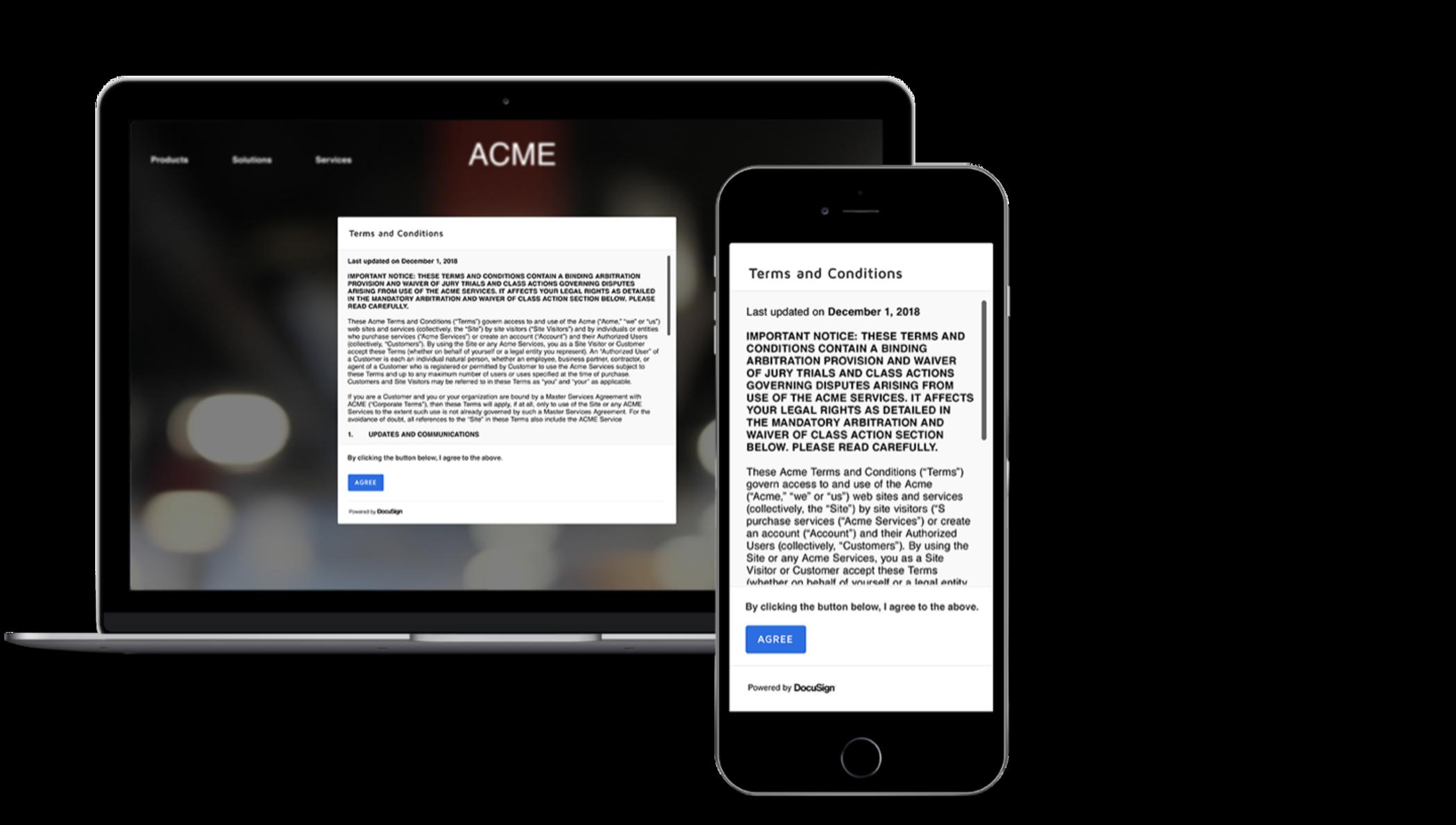 Um contrato de termos de serviço em uma lightbox em um navegador da Web.