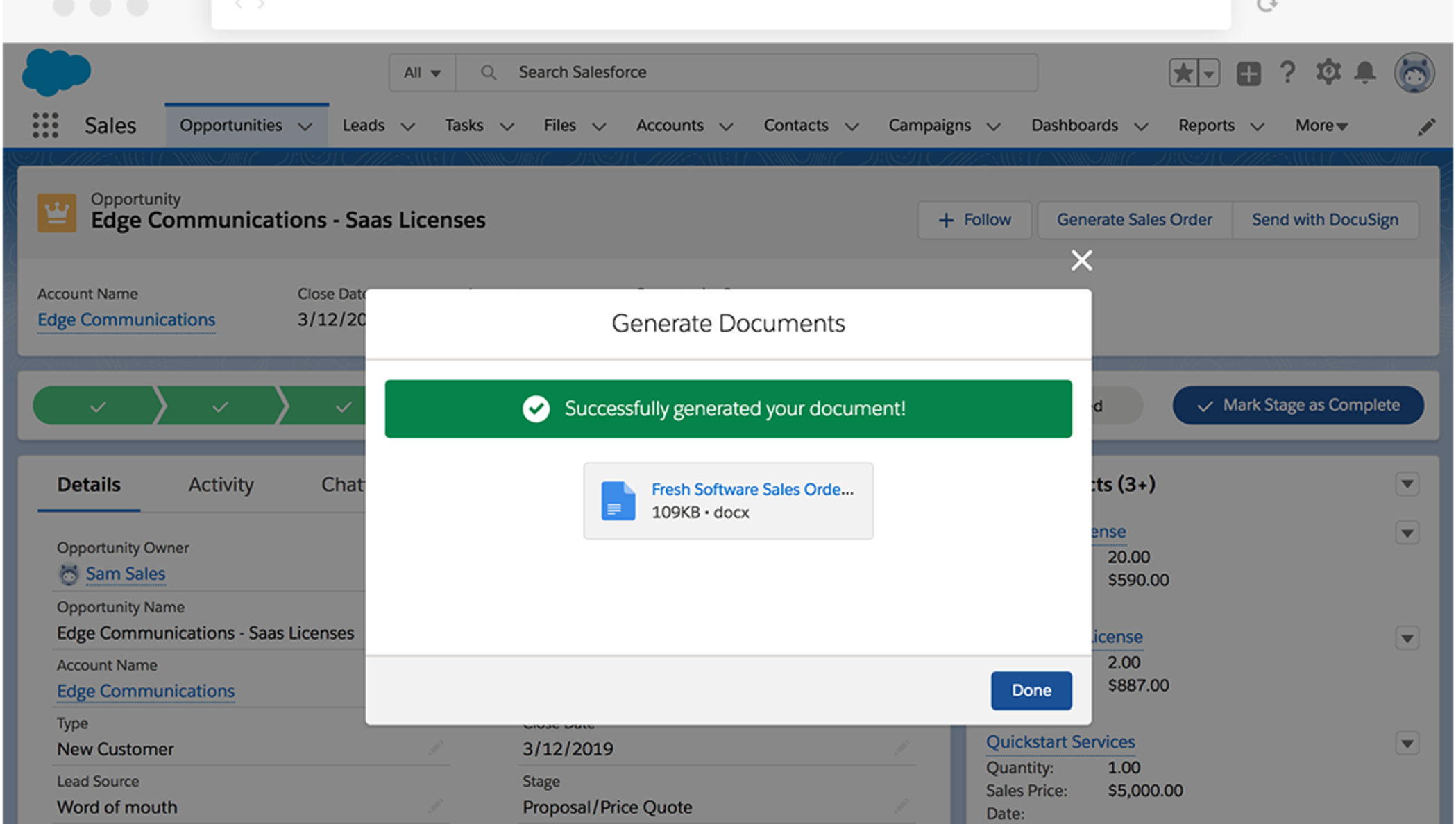 "Um pop-up na interface do Salesforce avisa que ""Gerou seu documento com sucesso!"""