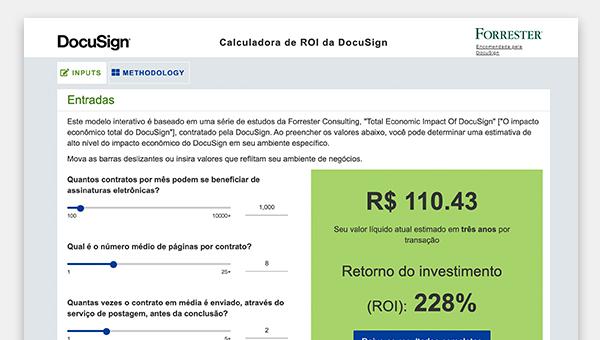 Captura de tela da ferramenta de calculadora ROI